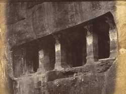 Entrance to Jain Cave IV, view of facade from the right, Badami, Bijapur District